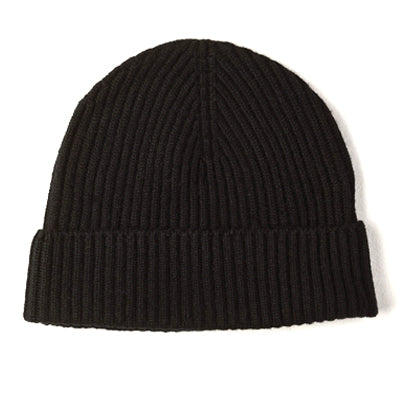 Burrows and Hare 100% Cashmere Beanie - Black - Burrows and Hare