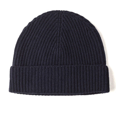 Burrows and Hare 100% Cashmere Beanie - Navy