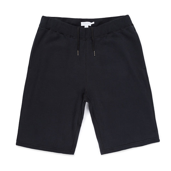 Sunspel Cotton Loopback Shorts - Black - Burrows and Hare