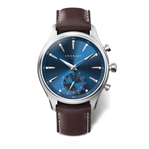 Kronaby Sekel 41 Steel - Blue, Brown Leather