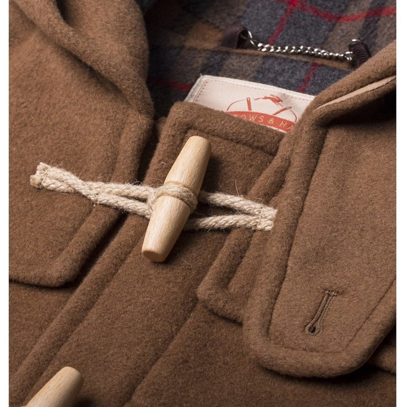 Burrows & Hare Water Repellent Wool Duffle Coat -Brown - Burrows and Hare
