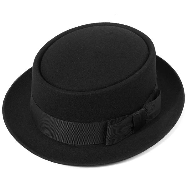 Christys' Pork Pie Wool Felt Hat - Black - Burrows and Hare