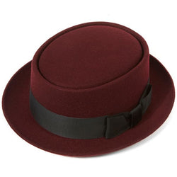 Christys' Pork Pie Wool Felt Hat - Maroon - Burrows and Hare