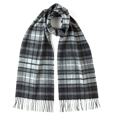 Burrows & Hare 100% Cashmere Tartan Scarf - Dark Grey - Burrows and Hare