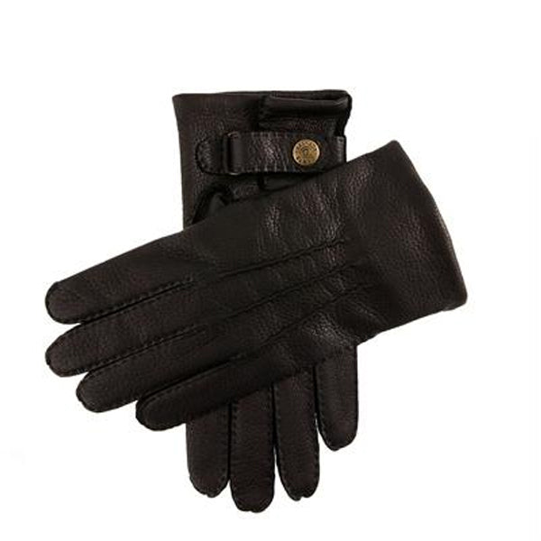 DENTS Canterbury Cashmere Lined Deerskin Leather Gloves - Black - Burrows and Hare