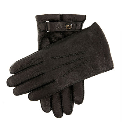 DENTS Hampton Handsewn Cashmere Lined Peccary Leather Gloves - Black - Burrows and Hare