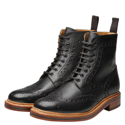 Grenson 'Fred' Brogue Boot - Black - Burrows and Hare