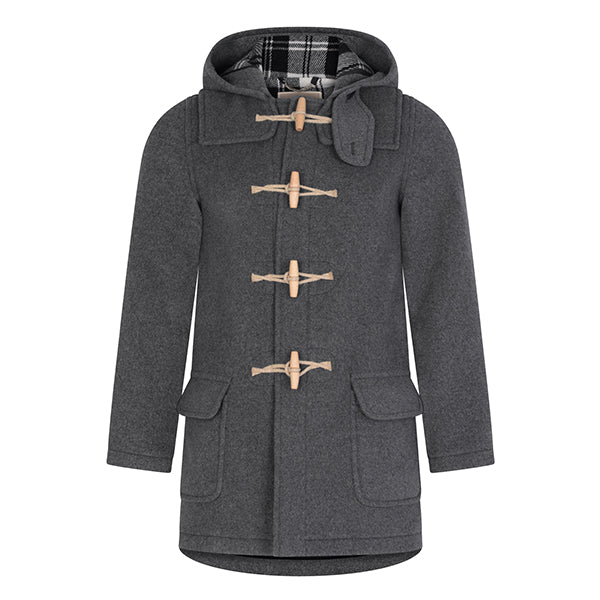 Burrows & Hare Grey Water Repellent Wool Duffle Coat - Burrows and Hare