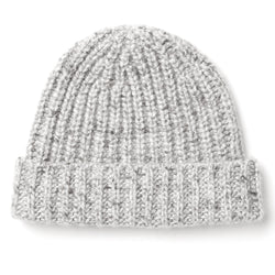 Burrows and Hare light MIX DONEGAL RIB CASHMERE beanie - Burrows and Hare