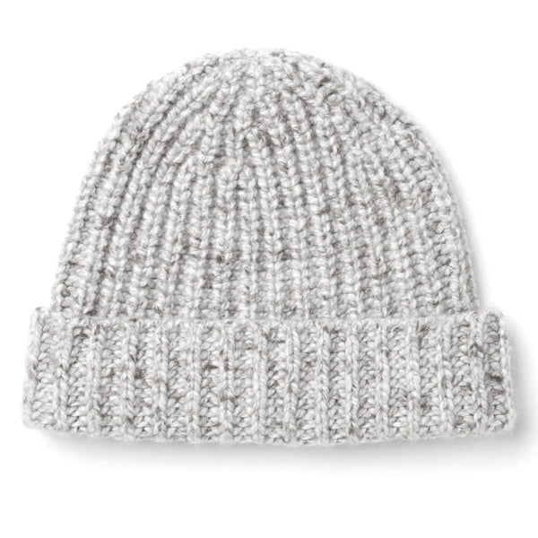 Burrows and Hare light MIX DONEGAL RIB CASHMERE beanie