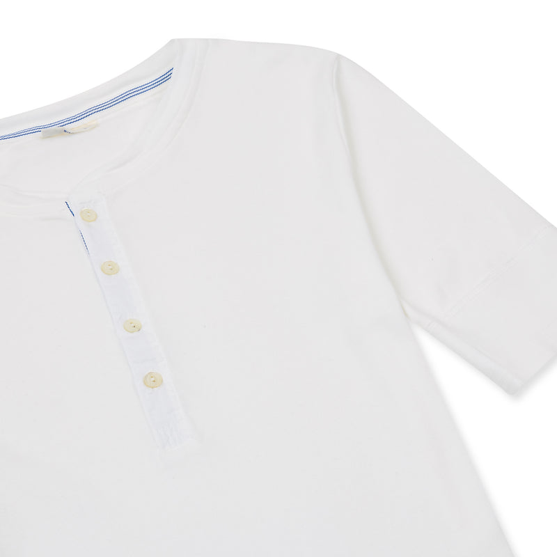 Schiesser-Karl Heinz Cotton Jersey Henley - White - Burrows and Hare