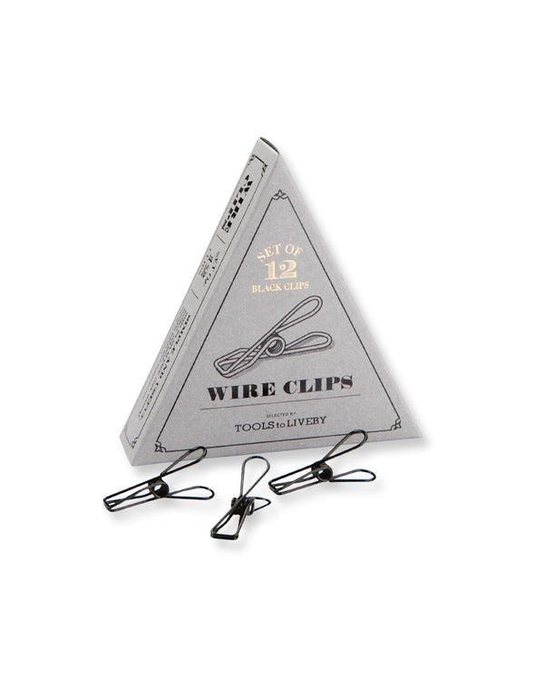 Tools to Liveby Black Wire Clips (Set of 12) - Burrows and Hare