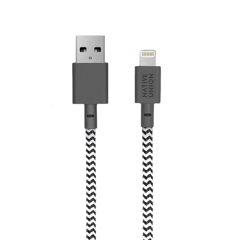 Native Union 3m Night Cable USB-A to Lightning - Zebra - Burrows and Hare