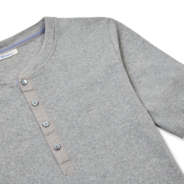 Schiesser-Karl Heinz Cotton Jersey Henley - Grey - Burrows and Hare