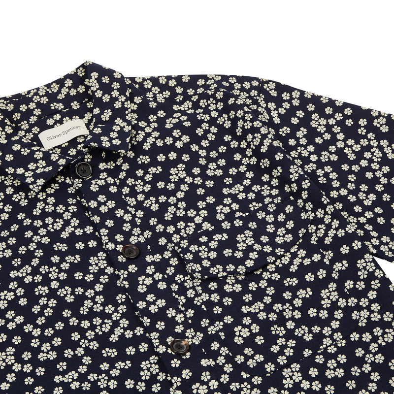 Oliver Spencer Dock Popover Short Sleeve Shirt - Maples Navy - Burrows and Hare