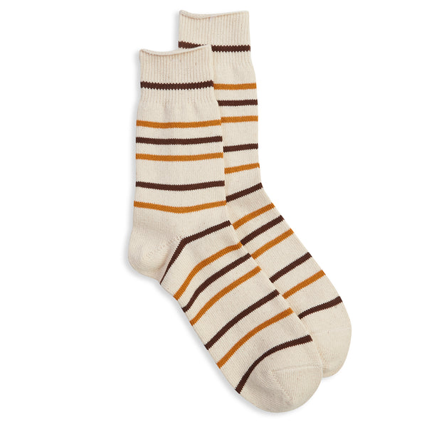 Anonymous Ism Cotton Stripe Sock - Beige/Brown - Burrows and Hare
