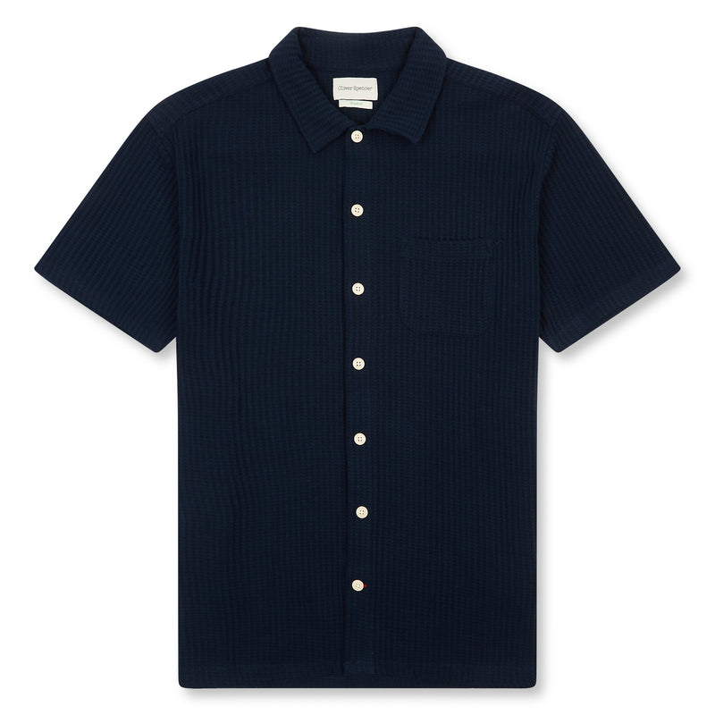 Oliver Spencer Hawaiian Jersey Short Sleeve Shirt- Navy - Burrows and Hare