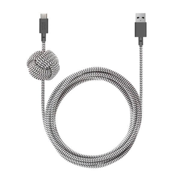 Native Union 3m Night Cable USB-C to USB-A - Zebra - Burrows and Hare