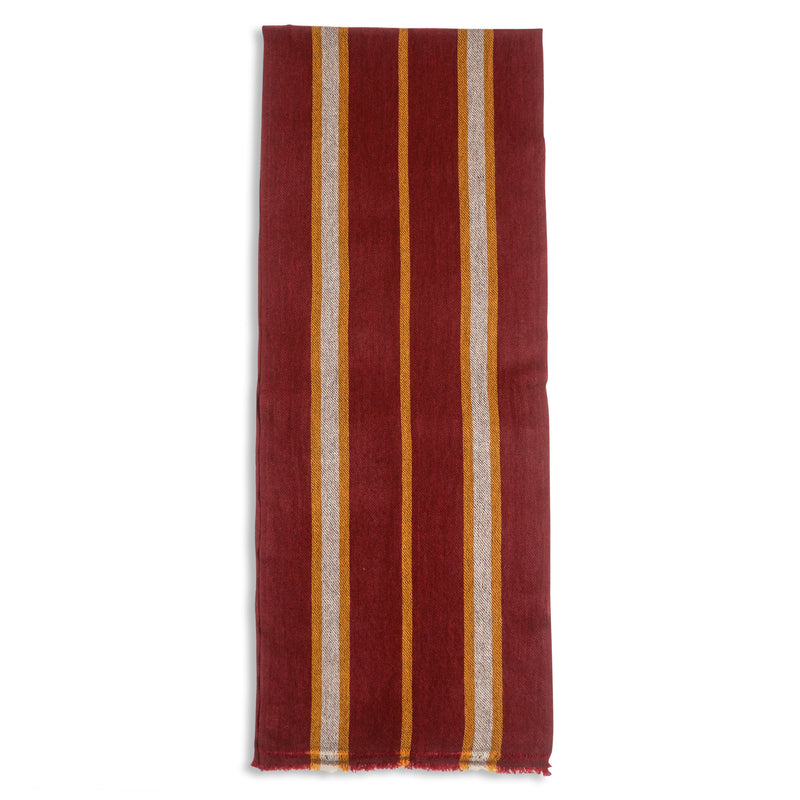Burrows & Hare Cashmere & Merino Wool Scarf - Stripe Port - Burrows and Hare