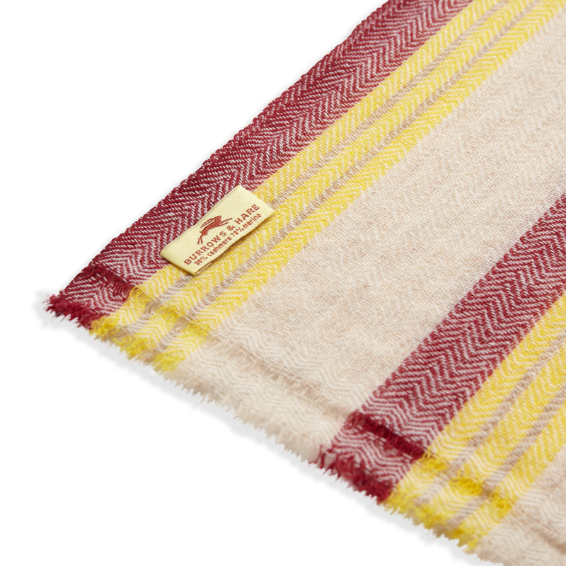 Burrows & Hare Cashmere & Merino Wool Scarf - Cream / Red Stripe - Burrows and Hare