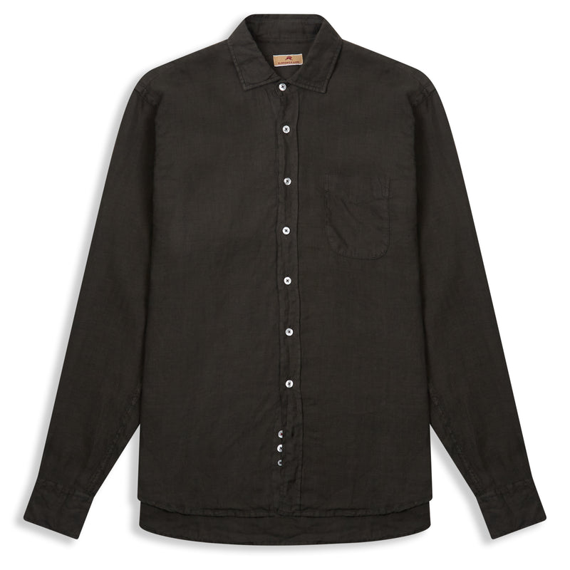 Burrows & Hare Linen Shirt - Bottle Green - Burrows and Hare