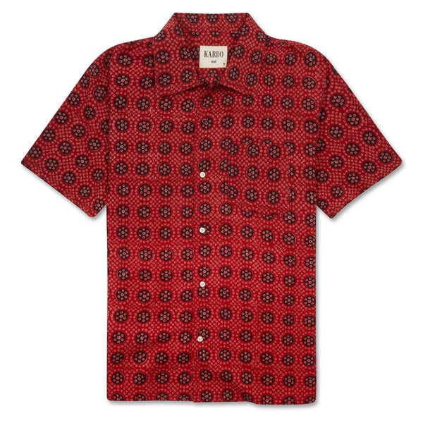 Kardo Chintan Shirt - Red - Burrows and Hare