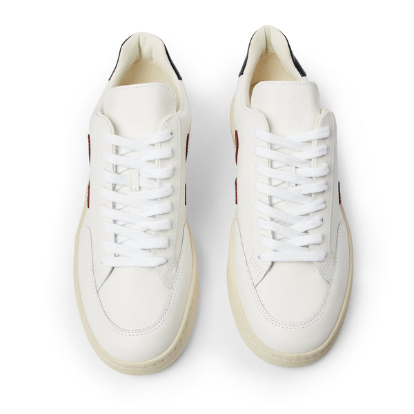Veja V-12 Leather - Extra White Marsala Nautico - Burrows and Hare