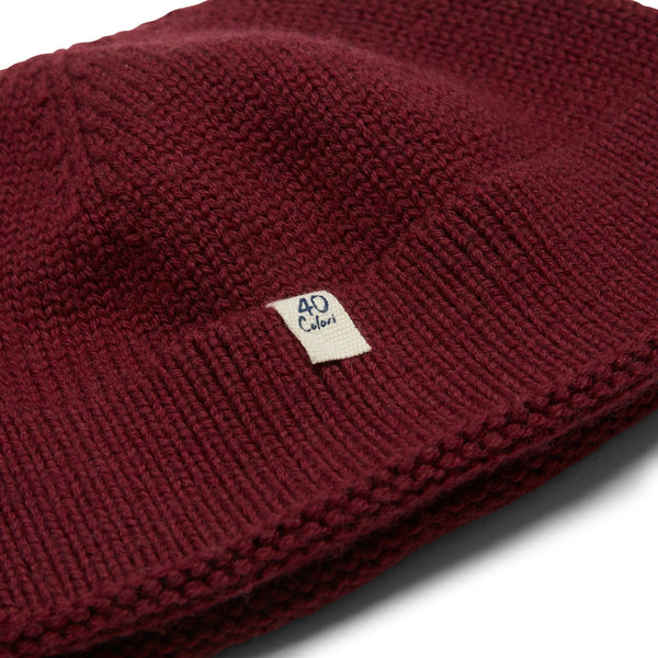 40 Colori Woollen Fisherman Beanie Hat - Burgundy - Burrows and Hare
