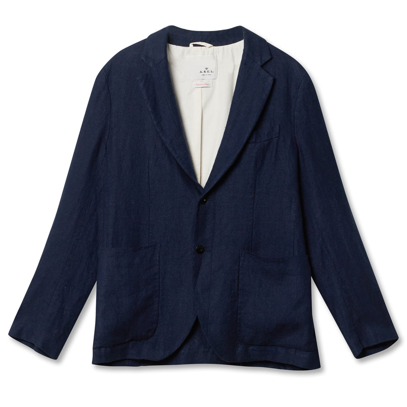 A.B.C.L Giacco Herringbone Jacket - Navy - Burrows and Hare