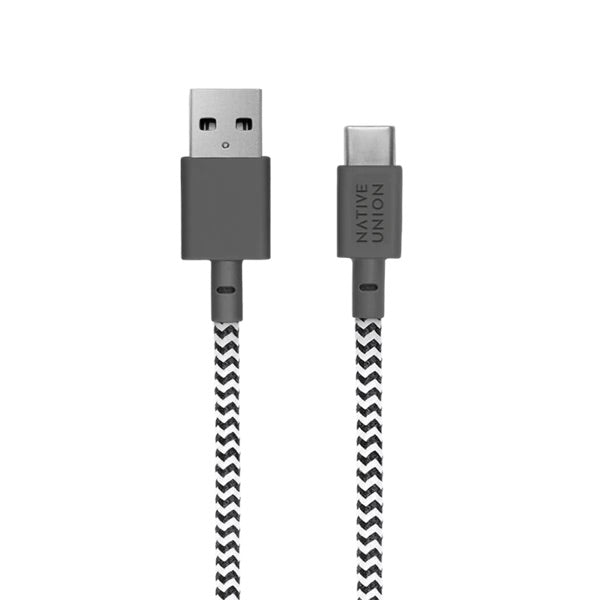 Native Union- Belt Cable  XL USB-C to USB-A - Zebra - Burrows and Hare