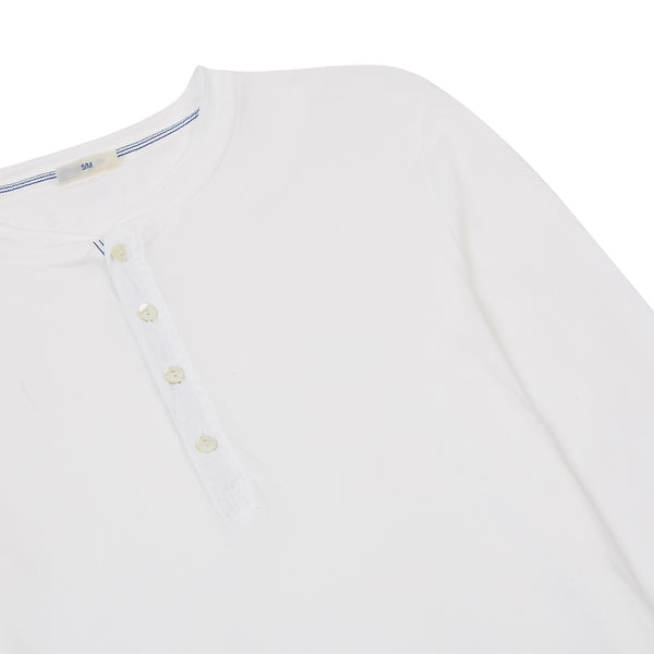 Schiesser-Karl Heinz Cotton Jersey Henley - White L/S - Burrows and Hare