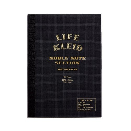 Life x Kleid Japan Japanese Noble Notebook B6 - Black - Burrows and Hare