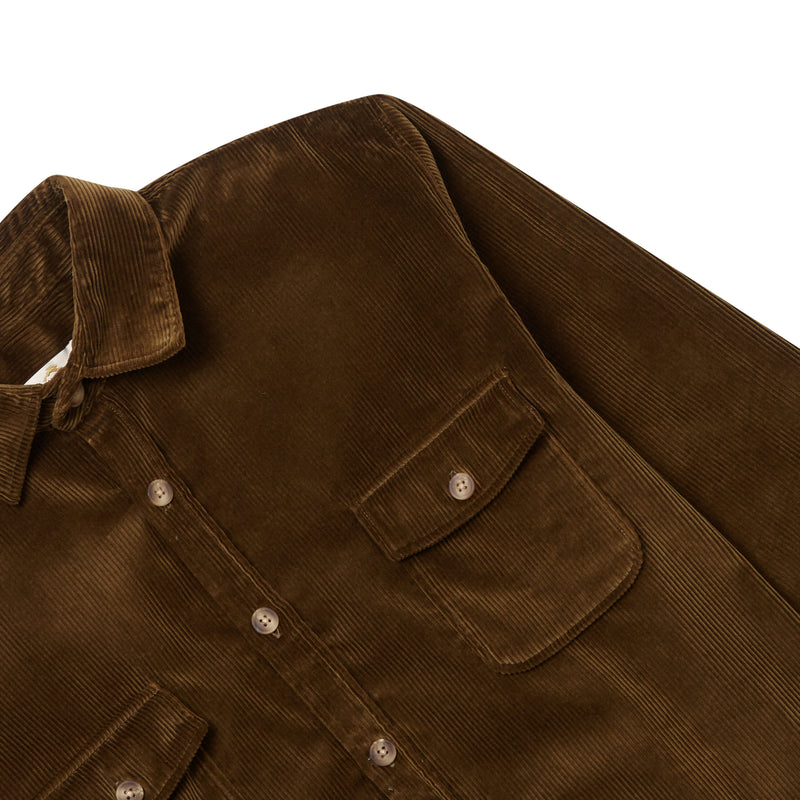 Burrows & Hare Cord Over Shirt - Khaki - Burrows and Hare