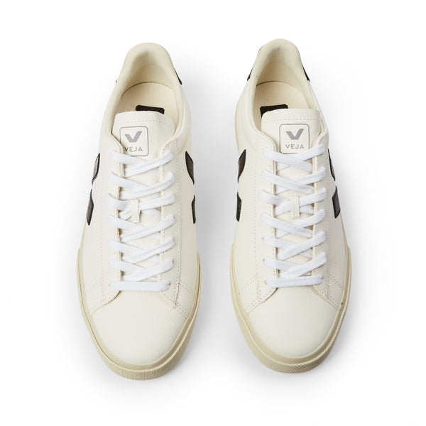 Veja Man Campo Chromefree Leather - White Black - Burrows and Hare
