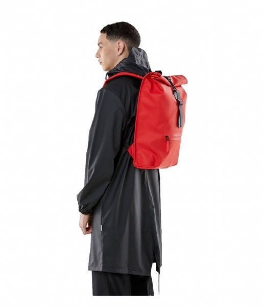 Rains Rolltop Rucksack - Red - Burrows and Hare