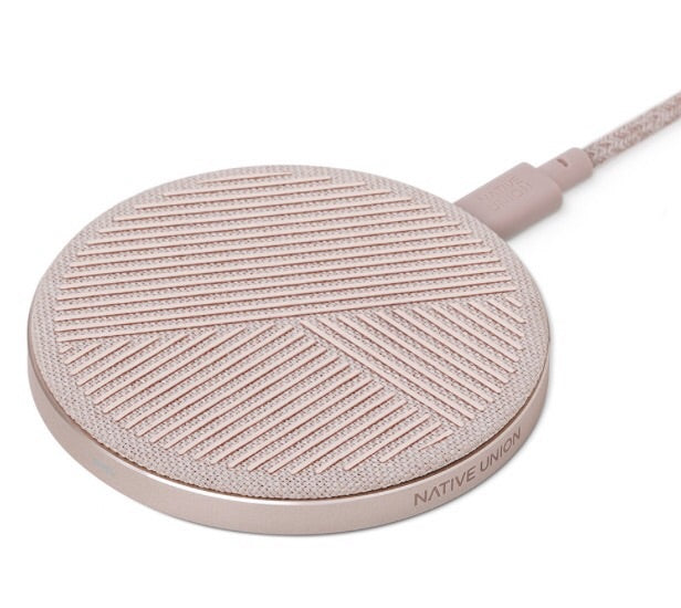 Native Union Drop Wireless Charger Pad Fabric Slate-Rose - Burrows and Hare