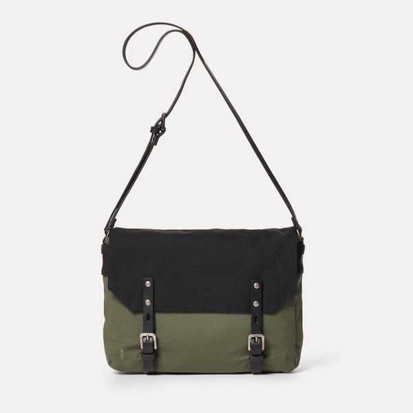 Ally Capellino Jeremy Small Waxed Cotton Satchel - Black and Olive - Burrows and Hare