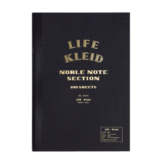 Life x Kleid Japan Japanese Noble Notebook A5 - Black - Burrows and Hare