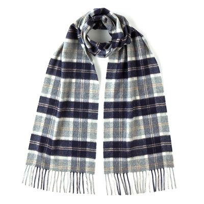 Burrows and Hare 100% Cashmere Scarf - Light Grey Tartan