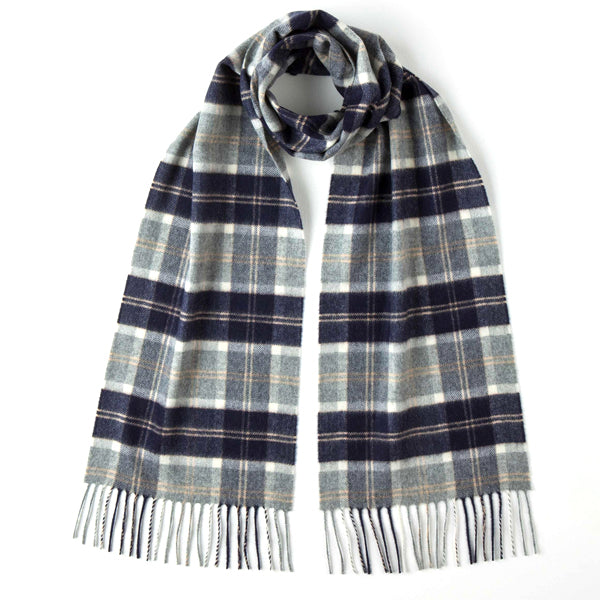 Burrows and Hare 100% Cashmere Scarf - Light Grey Tartan - Burrows and Hare