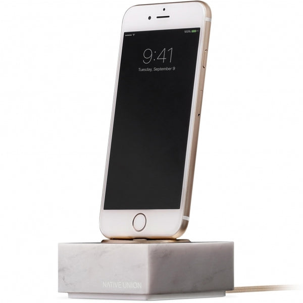 Native Union Dock + For iPhone (lightning) Marble Edition - White - Burrows and Hare