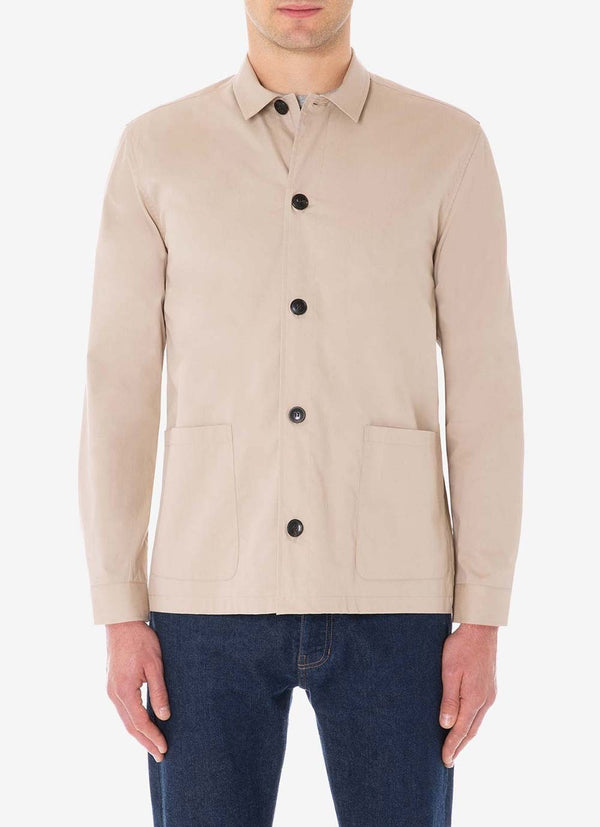 Sunspel Long Sleeve Shirt Jacket - Stone - Burrows and Hare