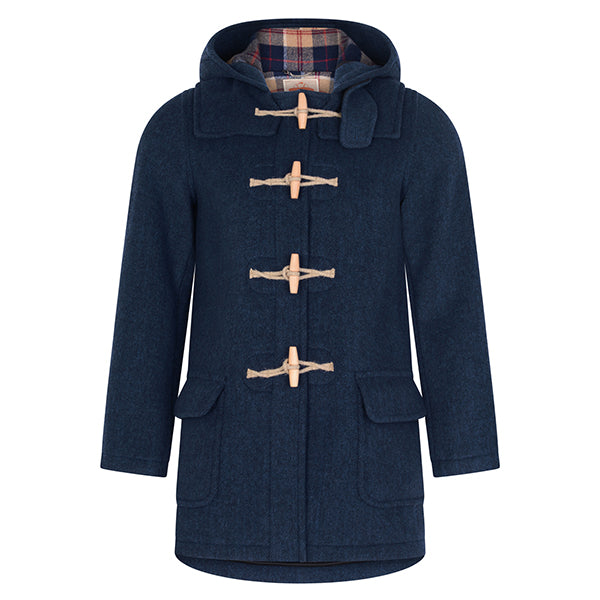 Burrows & Hare Denim Blue Water Repellent Wool Duffle Coat - Burrows and Hare