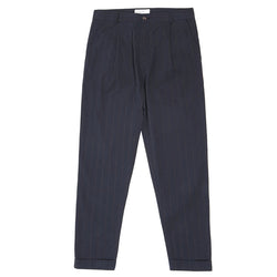 Universal Works Raised Pinstripe Pleated Pant - Navy - Burrows and Hare