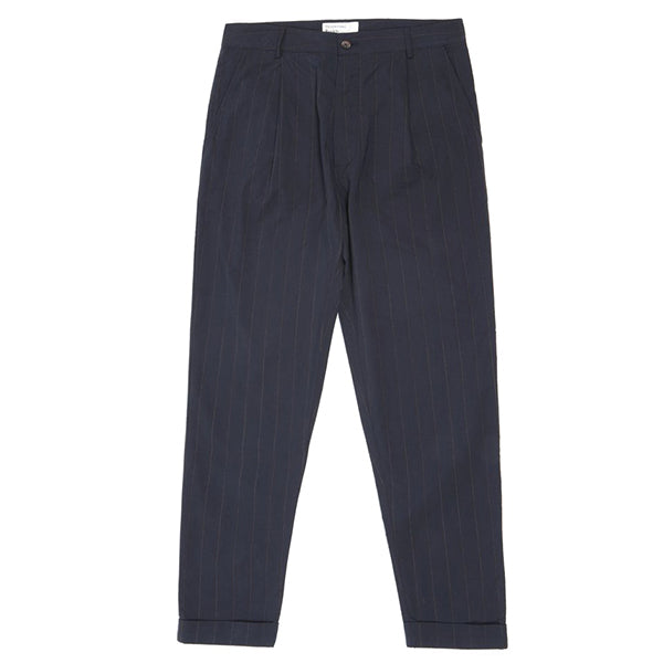 Universal Works Raised Pinstripe Pleated Pant Navy - Burrows and Hare