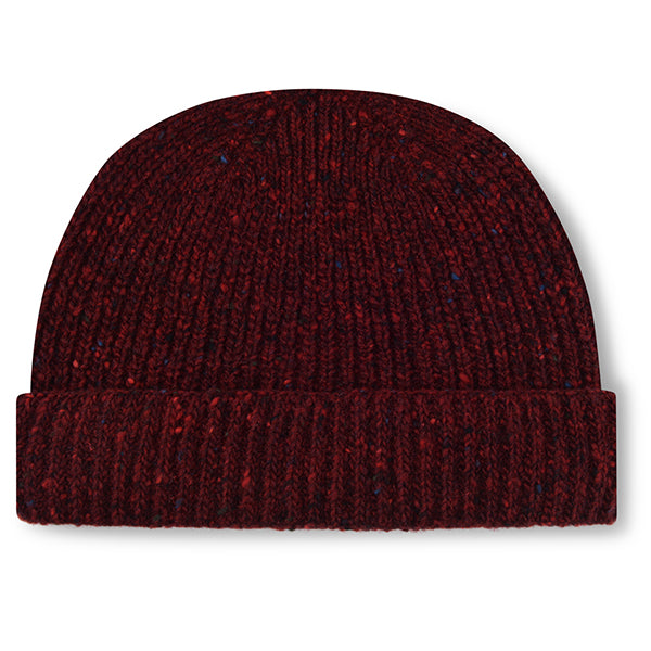 Burrows & Hare Merino Donegal Wool Beanie Hat - Port - Burrows and Hare