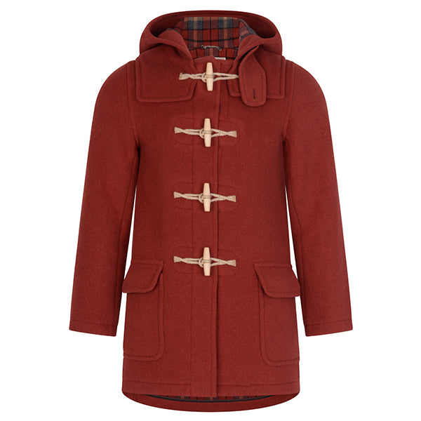 Burrows & Hare Red Twill Water Repellent Wool Duffle Coat - Burrows and Hare