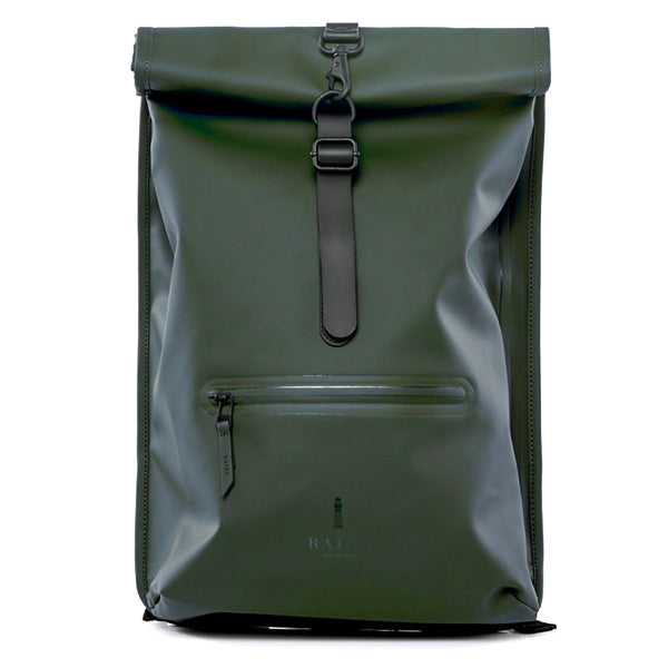 Rains Unisex Roll Top Rucksack - Green - Burrows and Hare