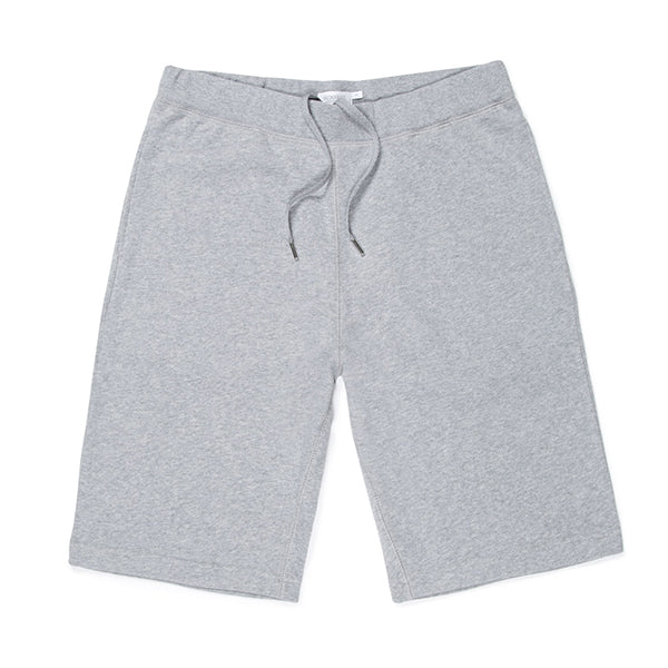 Sunspel Cotton Loopback Shorts - Grey Melange - Burrows and Hare