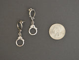 Double Handcuff Post Earrings Silver Pewter Dangle #011
